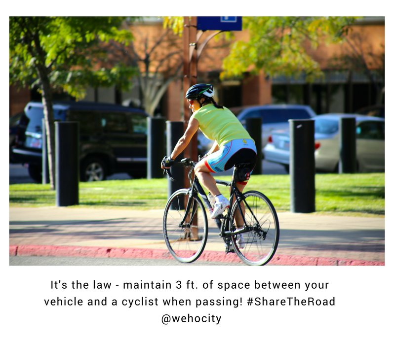 It's the law - maintain 3 ft. of space between your vehicle and a cyclist when passing! #ShareTheRoad  @wehocity