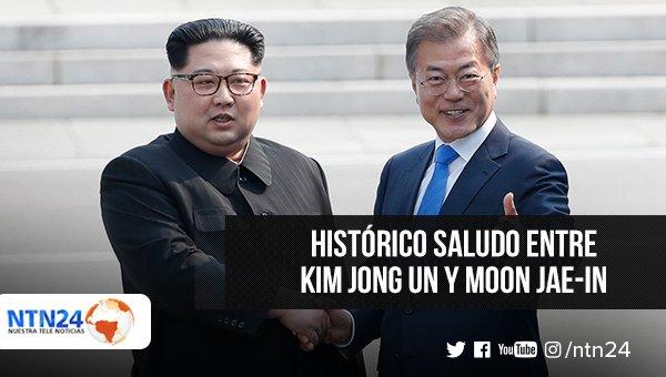 El presidente de Corea del Sur, Moon Jae-In, recibió al líder norcoreano, Kim Jong Un y se dieron la mano luego de que Kim cruzara caminando la frontera antes de la cumbre en la que tratarán la posible desnuclearización de Pyongyanhttps://t.co/GPva0vQFm2g