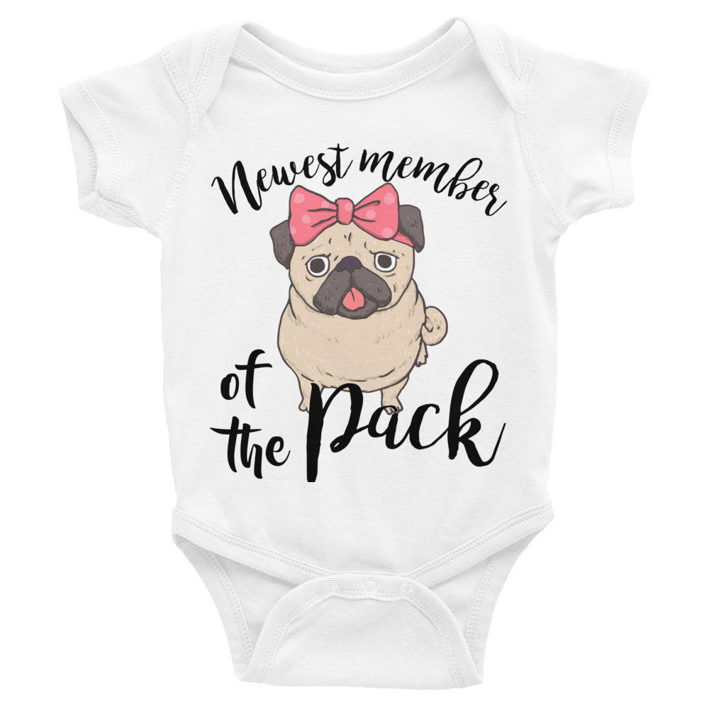 692840576 ... Baby One Piece Body Suit Newest Member of the Pack, Cute Pug Dog, Onesie  for Baby Girl https://etsy.me/2HB9n3F #clothing #children #bodysuit  #cutepugdog ...