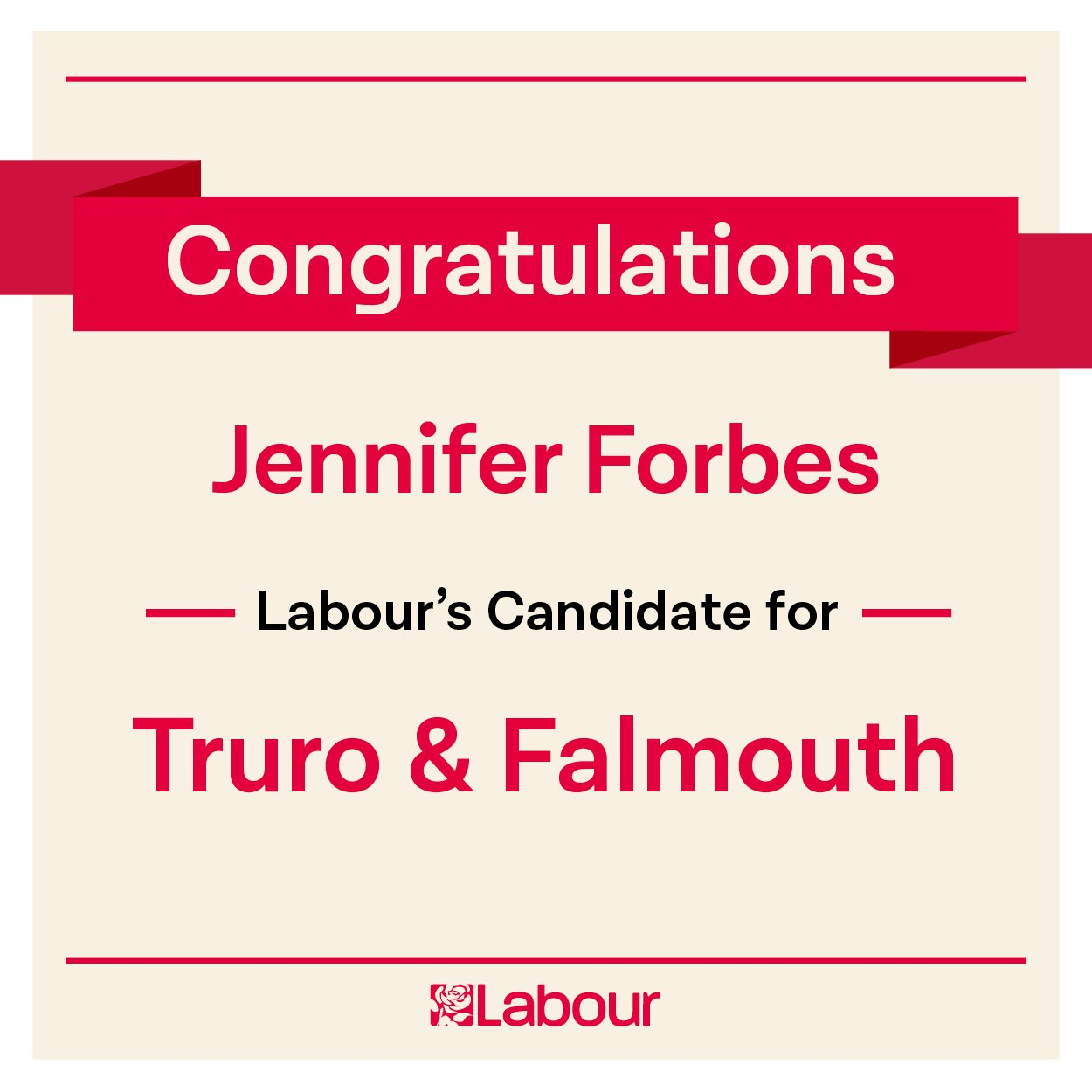 Congratulations Jennifer Forbes (@ifferforbes), Labour's candidate for Truro and Falmouth! https://t.co/39kVYnkISi