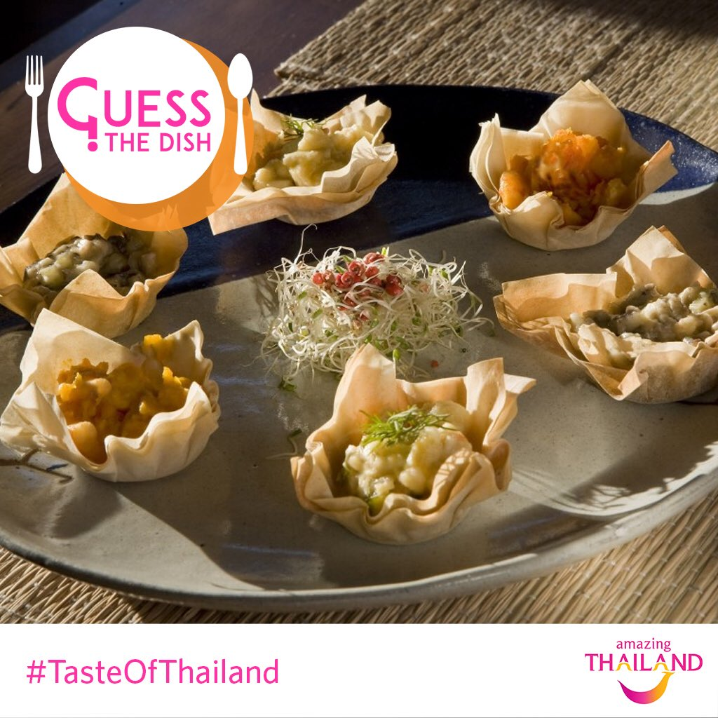 It&#39;s time for the 8th question! #TasteofThailand  This Thai appetizer is a deep-fried golden pastry shell filled with minced chicken and vegetables.  Can you guess it? #Contest #ContestAlert #Thailand #AmazingThailand #Food #Foodie #ThaiDish #ThaiCuisine #Pastry<br>http://pic.twitter.com/JQFapSIOhj