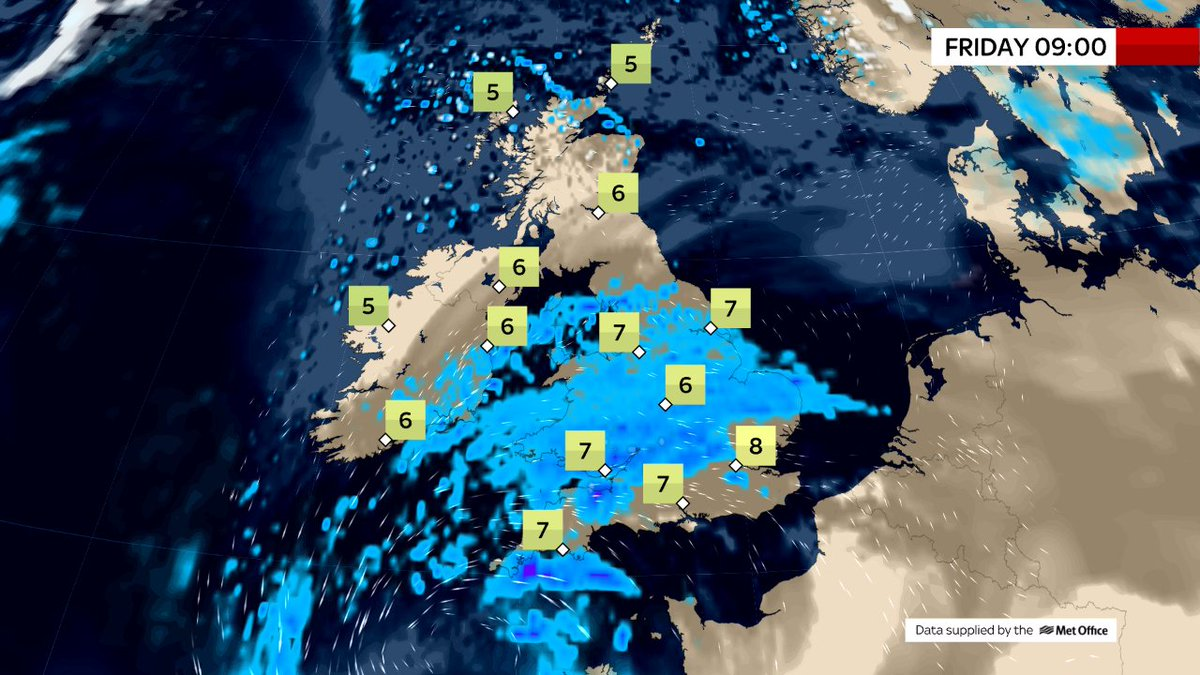 THIS MORNING Rain over southern Ireland, Wales & central & southern England - heaviest to the south-west. The rest of England, Wales & Ireland cloudy but mainly dry. Sunny & dry for N.Ireland & Scotland but chilly & showers to the far north & also a grass frost.  @SkyNews#weather