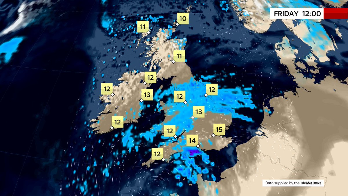 THIS AFTERNOON Pt 2of2 Showers will become widespread over Scotland through today, some of them heavy & thundery with hail, in between sunny spells.  Northern Ireland will see a few showers too, but it'll be generally dry & sunny there today.  @SkyNews#weather