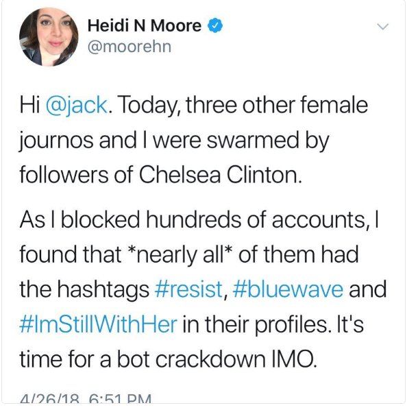 Just as I was ready to snuggle in, I wondered if more journalists than Heidi Moore don&#39;t realize how many 1000s of people on Twitter have #resist, #bluewave, or #StillWithHer in their profiles? Is this a common blind spot?<br>http://pic.twitter.com/7nqEn3PLJP