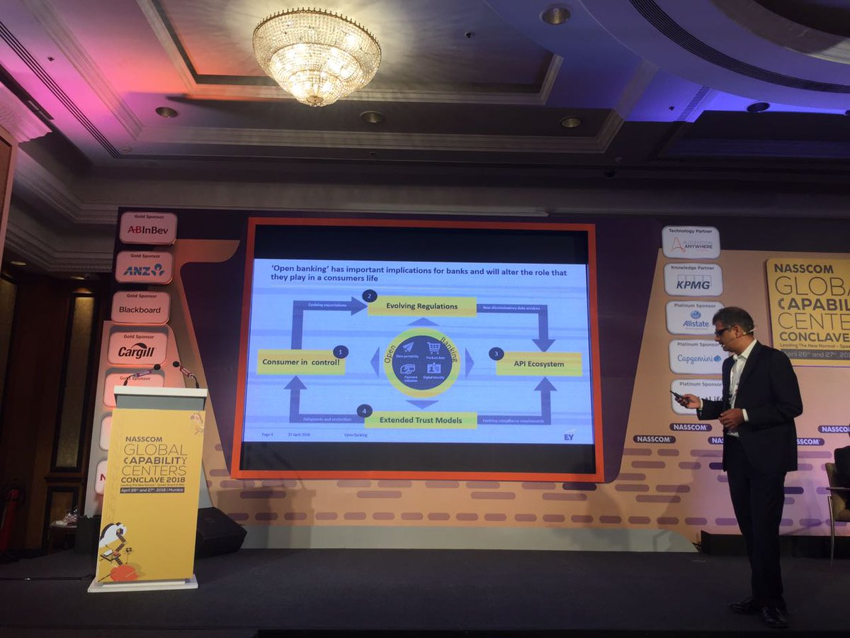 Open #Banking has important implications for banks as it will alter the role they play in a consumer&#39;s life: Mahesh Makhija, Partner, Advisory Services, EY at #nasscomGCC @nasscom @NasscomEvents<br>http://pic.twitter.com/9UIsHOJgFQ
