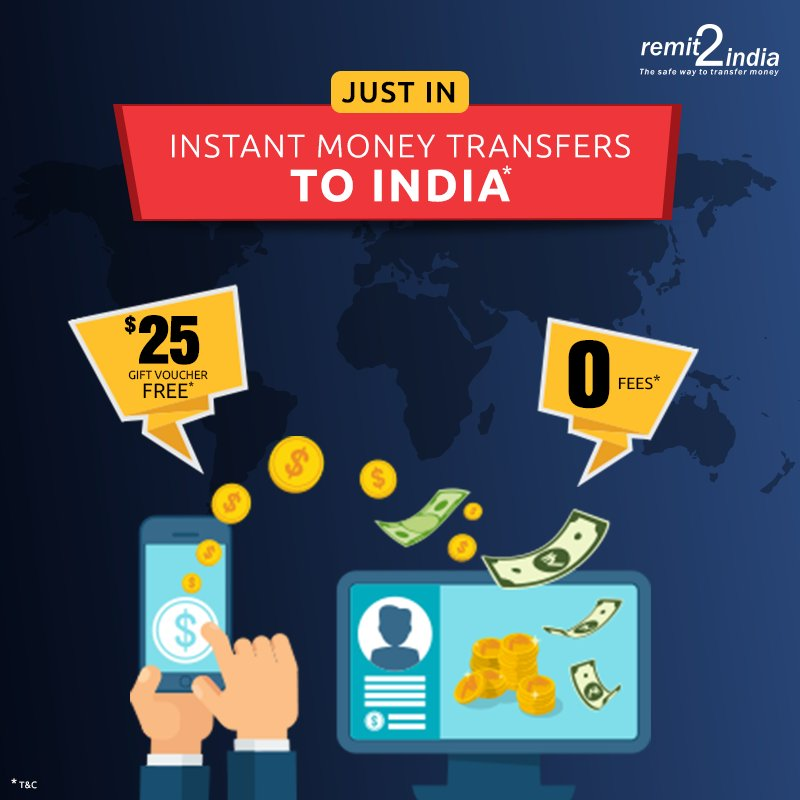 Transfer Money Instantly With Remit2india And Get A 25 Gift Voucher Free Avail Great Exchange Rates Zero Fees T C Ly