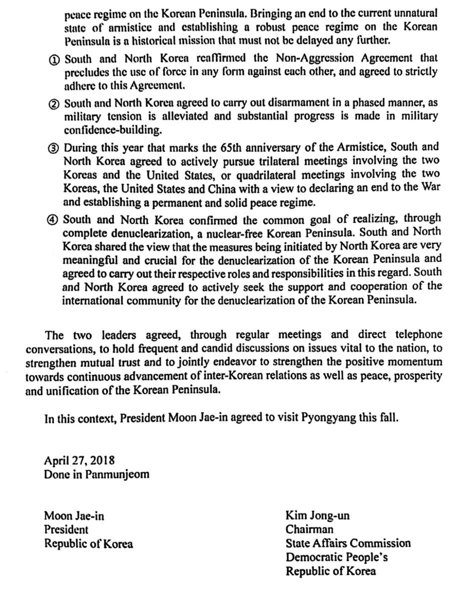 Koreas Agree To Work Toward Peace And Complete Denuclearization