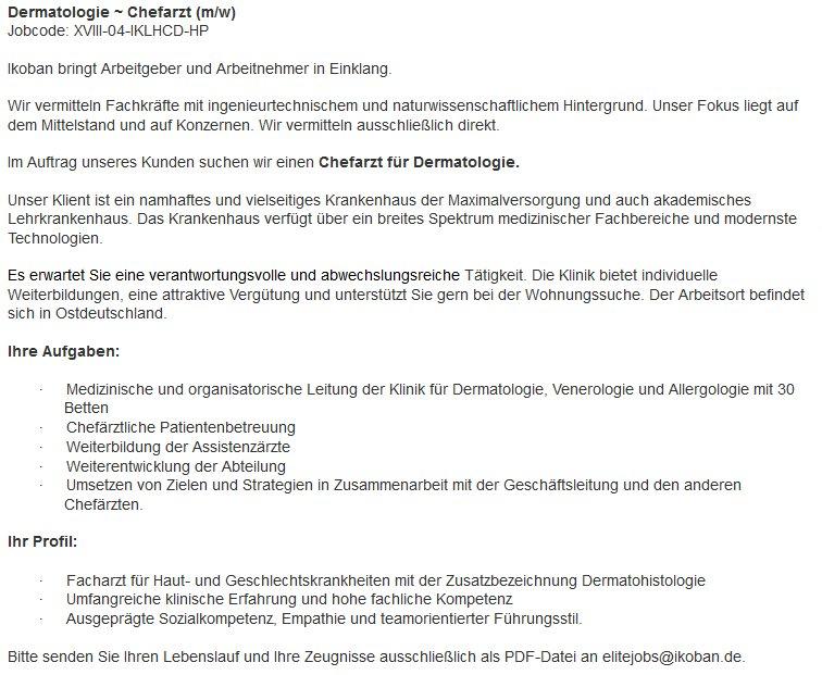 Ivona Koban On Twitter Chefarzt Für Ostdeutschland Gesucht