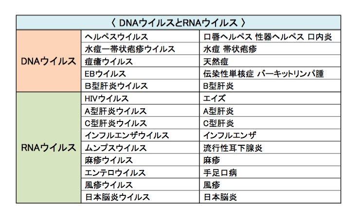 """歯科衛生士のための一問一答 على تويتر: """"☆DNAウィルスとRNAウィルス☆… """""""