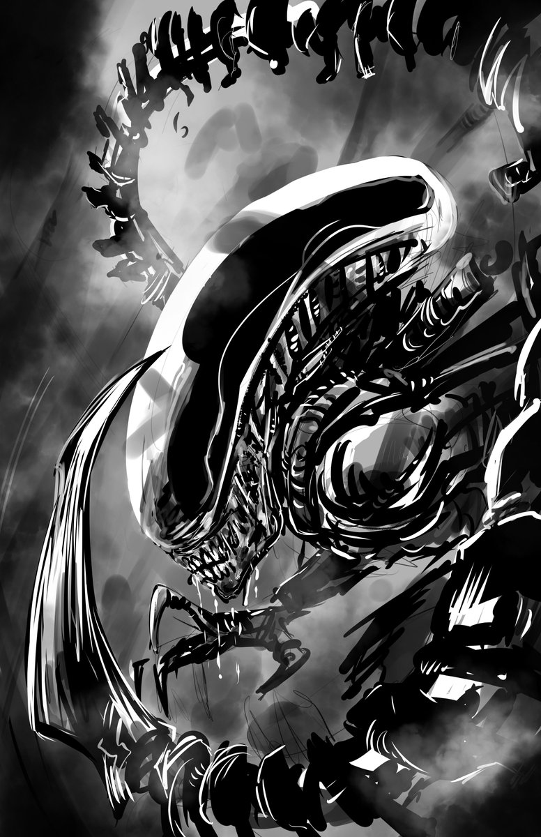 I made this Xenomorph yesterday, 15 minutes digital work. Happy #AlienDay426 #Alien #xenomorph