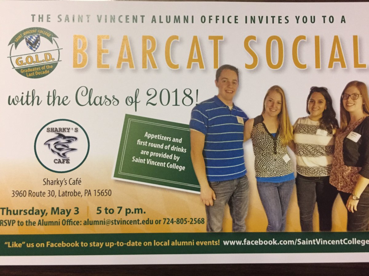 Saint vincent alumni svcbearcat twitter update gold alumni youre invited to join the class of 2018 at sharkys cafe on thursday 53 from 5 7pm enjoy a drink and apps on us publicscrutiny Choice Image