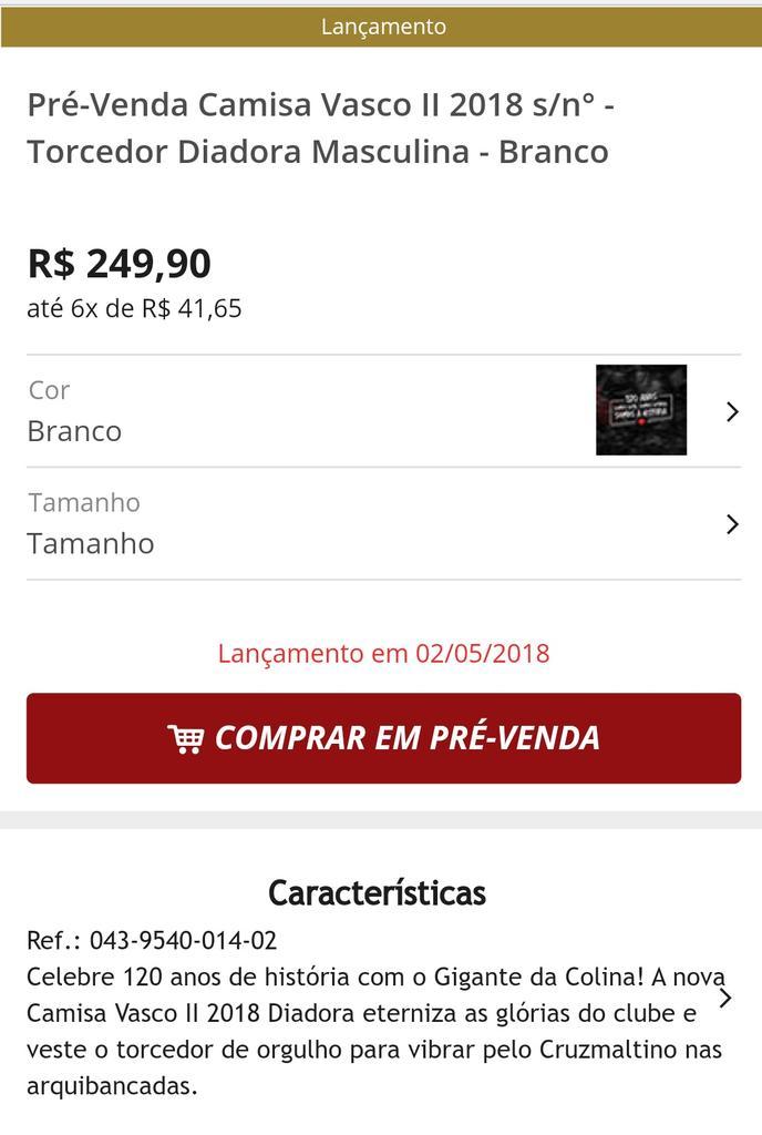 Saiba mais   https   www.shopvasco.com.br prevenda-camisa-vasco-ii-2018-sn- torcedor-diadora-masculina-branco-043-9540-014 …pic.twitter.com tktIOnE0RB a3f2b871e505b