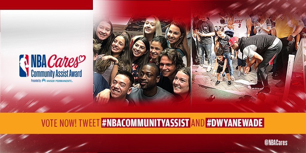 RT to cast your vote for @MiamiHEAT #DwyaneWade for the Seasonlong #NBACommunityAssist Award presented by @KPShare!   Learn more about @DwyaneWade's community efforts at http://communityassist.nba.com!