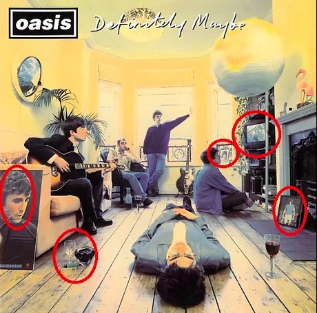 Definitely Maybe artwork broken down: Clockwise from bottom left: – Image of Burt Bacharach – Small photograph of Man U legend George Best – The Good, the Bad and the Ugly playing on the TV – Photo of Rodney Marsh – Ref to Definitely Maybe track, Cigarettes and Alcohol.