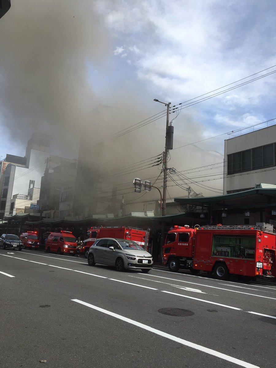 祇園四条駅付近で大規模火災の現場の画像