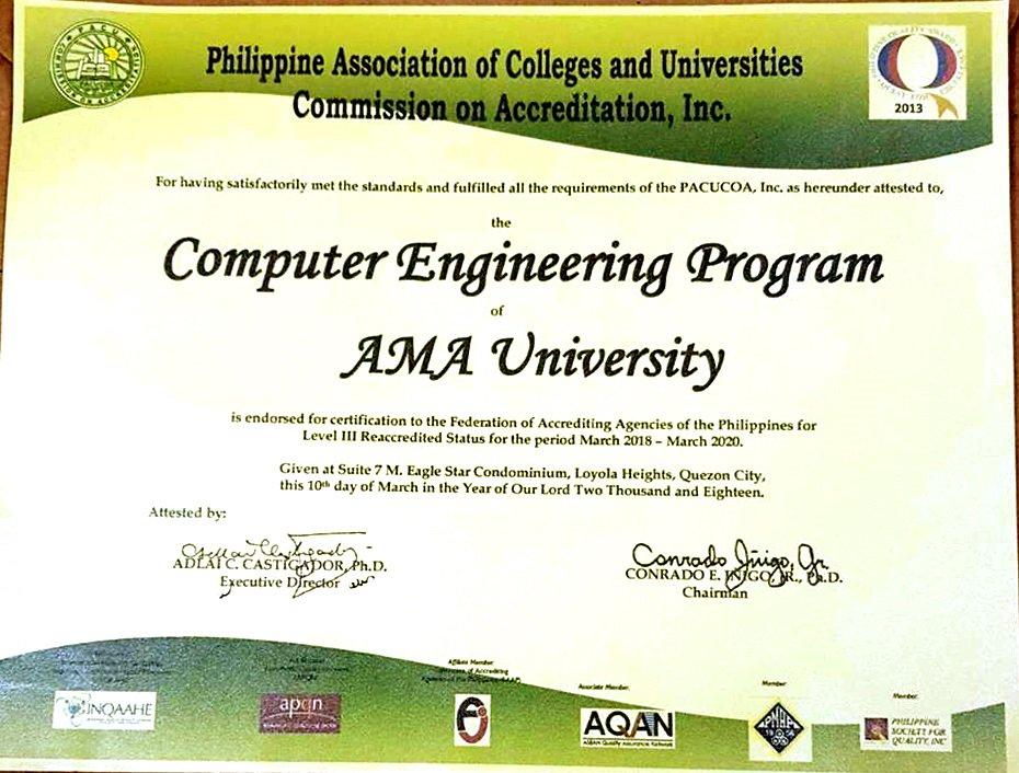 Ama Education System Ama University Receives Level Iii