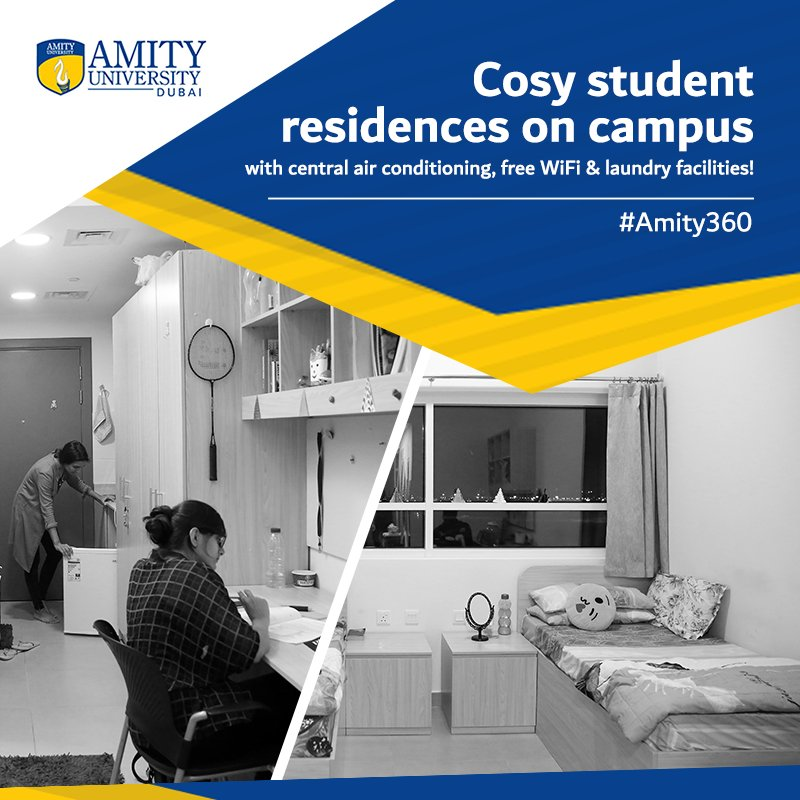 Amity uni dubai on twitter make yourself at home amitydubai by make yourself at home amitydubai by opting for comfy campus accommodation complete with facilities such as air conditioning wifi and laundry areas solutioingenieria Images