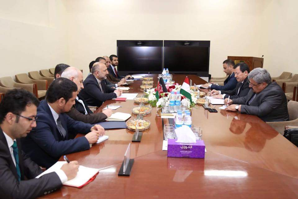 Exchanged views about taking joint security measures at the Afghan-Tajik Border, combating terrorism, bolstering the security and economic cooperation between AFG&Tajikistan and assigning workgroups to prepare & follow up on the cooperation agreements between AFG&Tajikistan.(2/2)