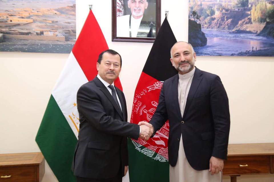 Received and met a High-ranking Security Delegation from the Republic of Tajikistan led by H.E. Saimumin Yatimov, the Head of State Committee for National Security yesterday, at @NSCAfghan ARG Presidential Palace. (1/2)