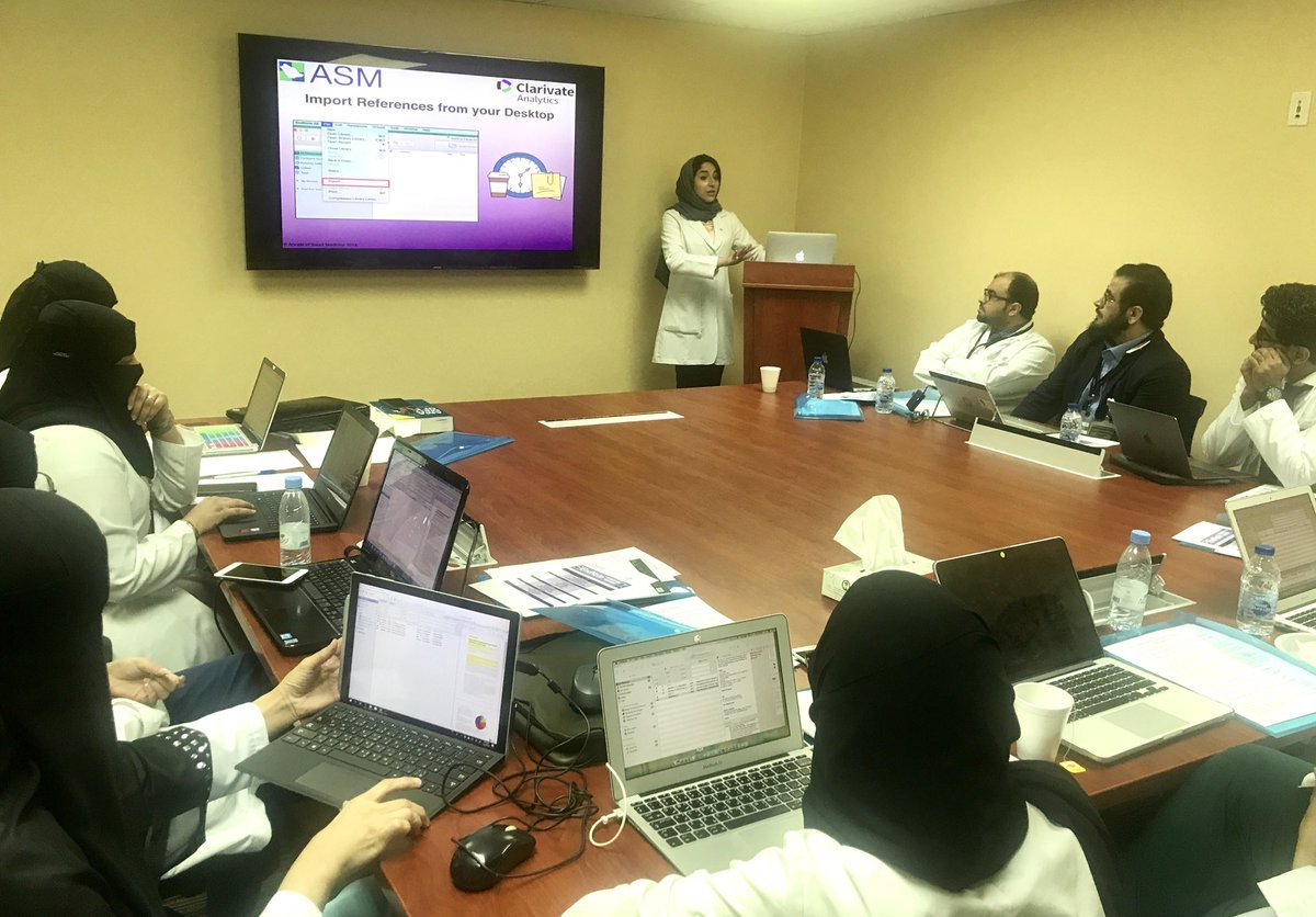 Today is our second #EndNoteTraining session with Certified Trainer, Ms. Amal Alghammas. Here&#39;s the morning group learning about importing references. #publishing #citations #references #academicwriting #scientificwriting #saudiarabia<br>http://pic.twitter.com/oAsbNE3RX5
