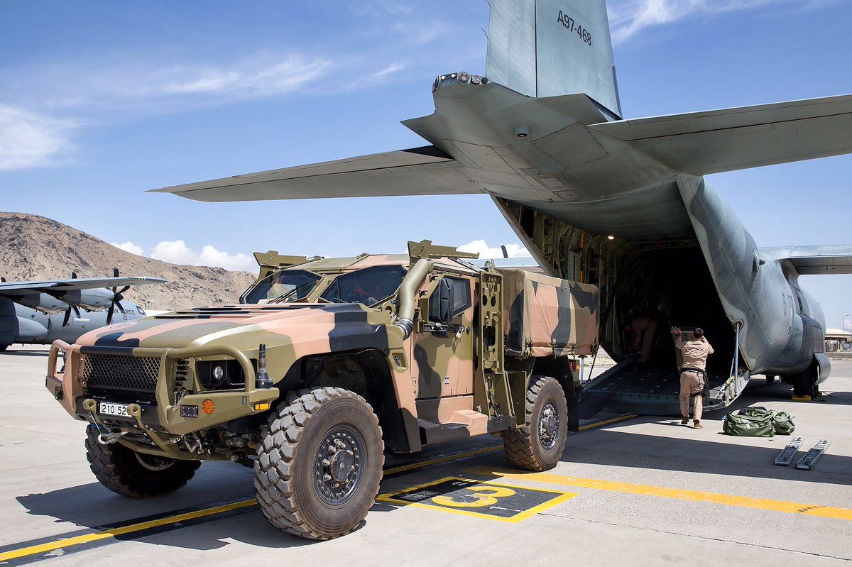 The Hawkei is in Afghanistan for operational testing and evaluation. The PMV was transported to Kabul in an RAAF C-130J