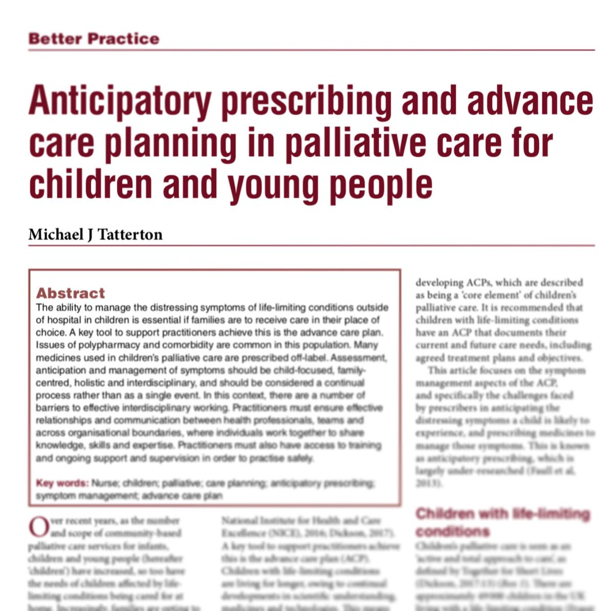 Pleased to have been #published in @NursPrescribing, with a paper on #improving practice in anticipatory #prescribing in #children's #PalliativeCare. @MartinHouseCH @YoHCPCN  #nursing #medicines #CYPACP #ACP #NMP #familynursing #forthe49000<br>http://pic.twitter.com/BjYIlmCZsN