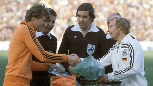 #Holland captain Ruud #Krol and West #Germany captain Berti #Vogts shake hands before the second round match that ended 2-2. Both players were also playing each other in the #WorldCup finals 4 years earlier. #Oranje78 #Oranje74 #Nederland #Oranje #FIFA #Mundial #Argentina https://t.co/WOTFB4d4YV