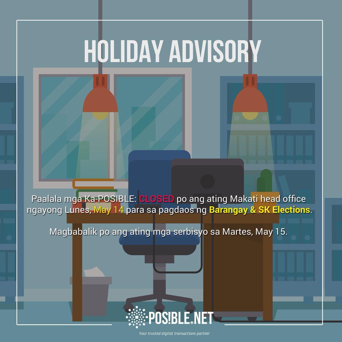 test Twitter Media - Paalala mga Ka-POSIBLE: Closed po ang ating Makati Head Office ngayong Lunes, May 14, para sa pagdaos ng Barangay & SK Elections. #Halalan2018 https://t.co/XxCc7bKtpE