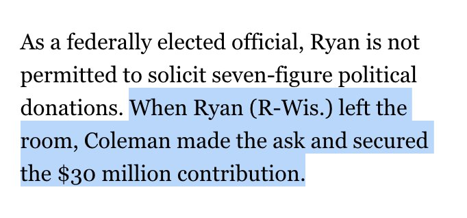 So Paul Ryan flew across the country to secure a $30 million check from Sheldon Adelson but then stepped out of the room for a couple minutes to avoid technically soliciting the money? Via    https://t.co/32ts2H87qt