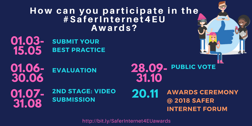 Join the #SaferInternet4EU Awards competition by 15/05 to showcase your  best practices at #SaferInternetForum in November, in Brussels ...