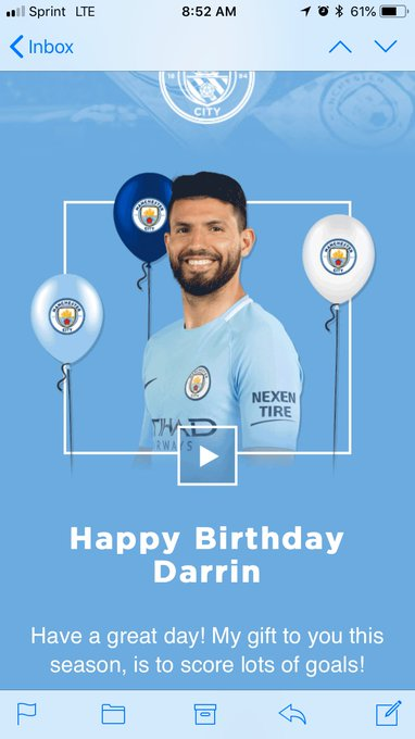 Sergio Aguero just wished me a happy birthday. Gonna be a good day!