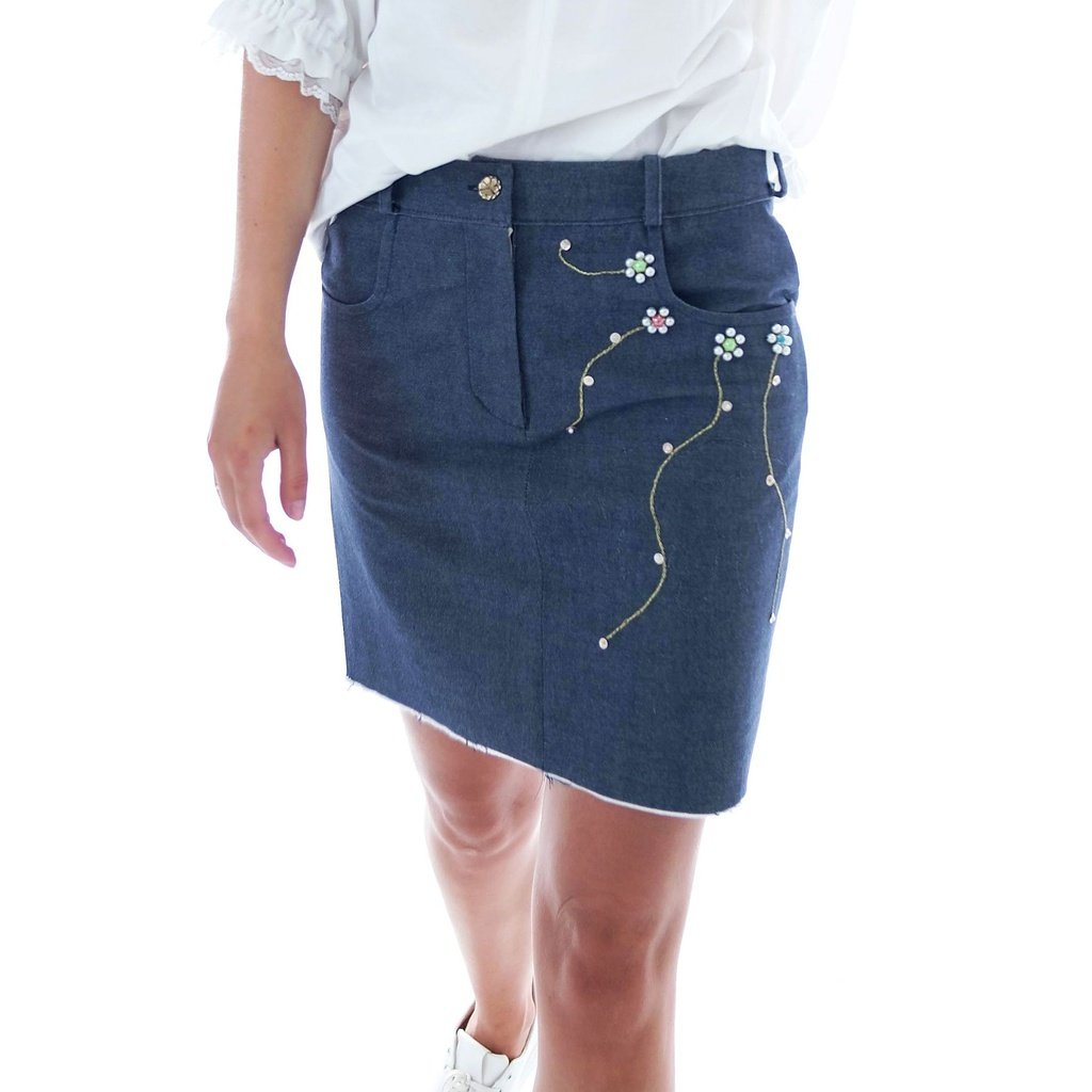 48c5f51fa0aa This Blue oversized #mini #skirt is embroidered with faux pearl beads,  sequins and floral design for a #perfect summer look.