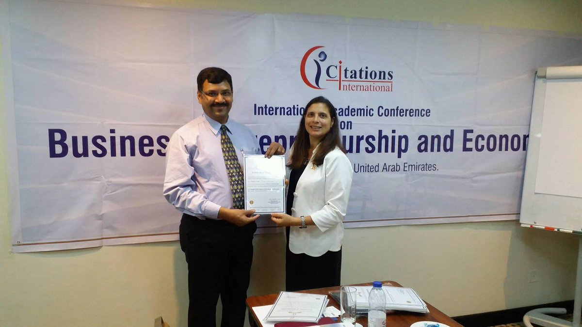 "Dr. Shesadev Nayak, Professor, and Head, School of Management had presented a paper entitled ""Effectiveness of Teaching-Learning Method in Entrepreneurship Education:  held on April 9-11, 2018 at Dubai, organized by Citations International.  #OPJU #UAE #Dubai #IAC #Citations<br>http://pic.twitter.com/tXpg8OxyzW"