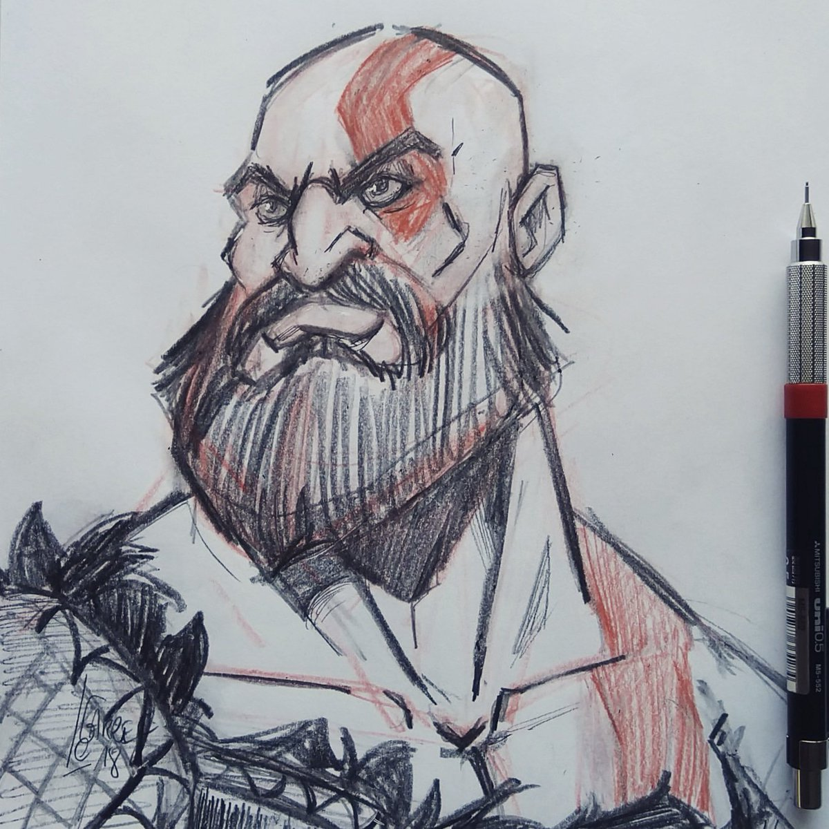 Vincedraws On Twitter A Kratos Fanart Made This Week I