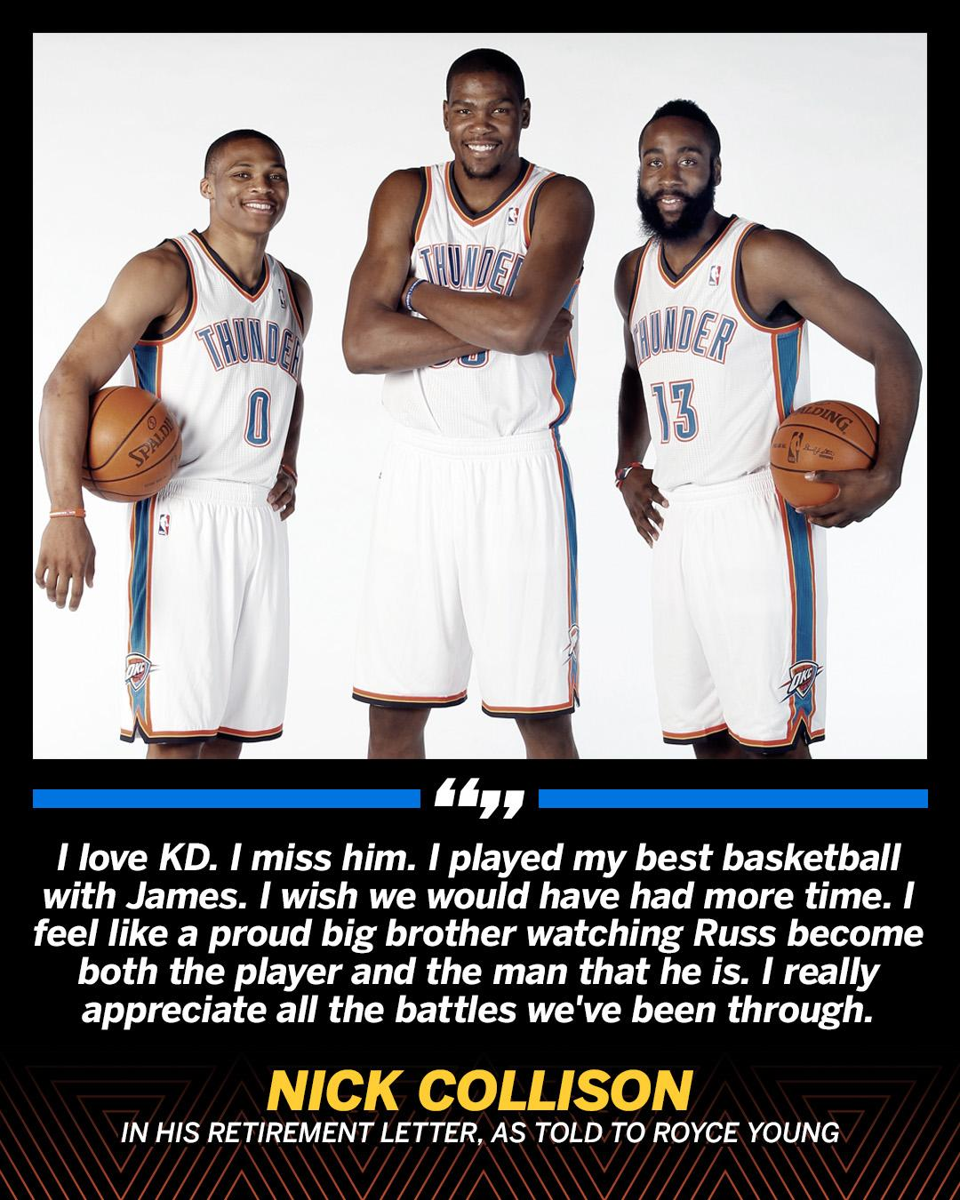 .@nickcollison4 reflects on playing with KD, Russ and Harden in his retirement letter. https://t.co/cHVgBpg1P4