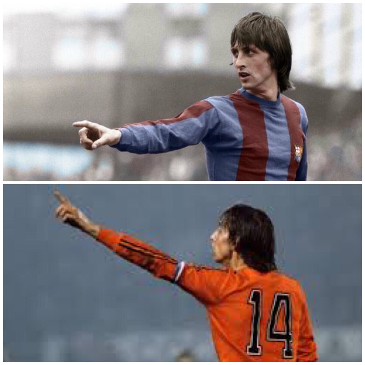 Different shirt, same #Cruyff. #JohanCruyff was contracted by @FCBarcelona at the time of the #FIFA #WorldCup in #Germany. #Oranje74 #WM74 #Holland #Nederland #mundial https://t.co/Bf02v5Wl54
