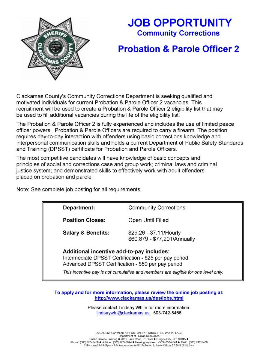 Clackamas Sheriff On Twitter Were Hiring Community Corrections
