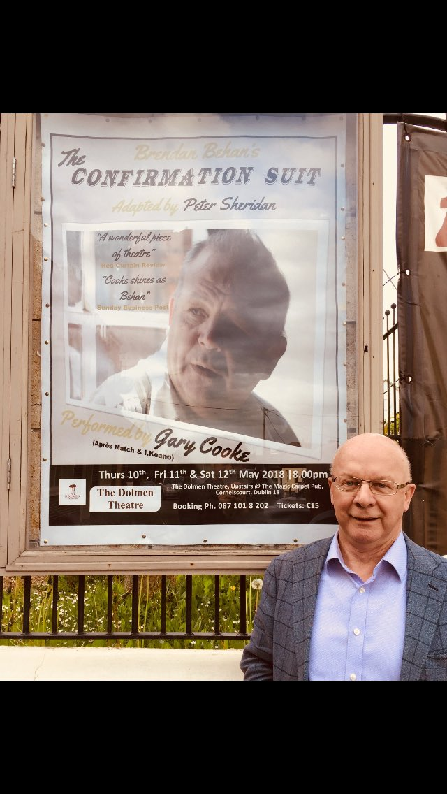 """The Dolmen Theatre على تويتر: """"Delighted that Peter Sheridan has taken time out from his hectic schedule to be here for opening night #ConfirmationSuit ..."""