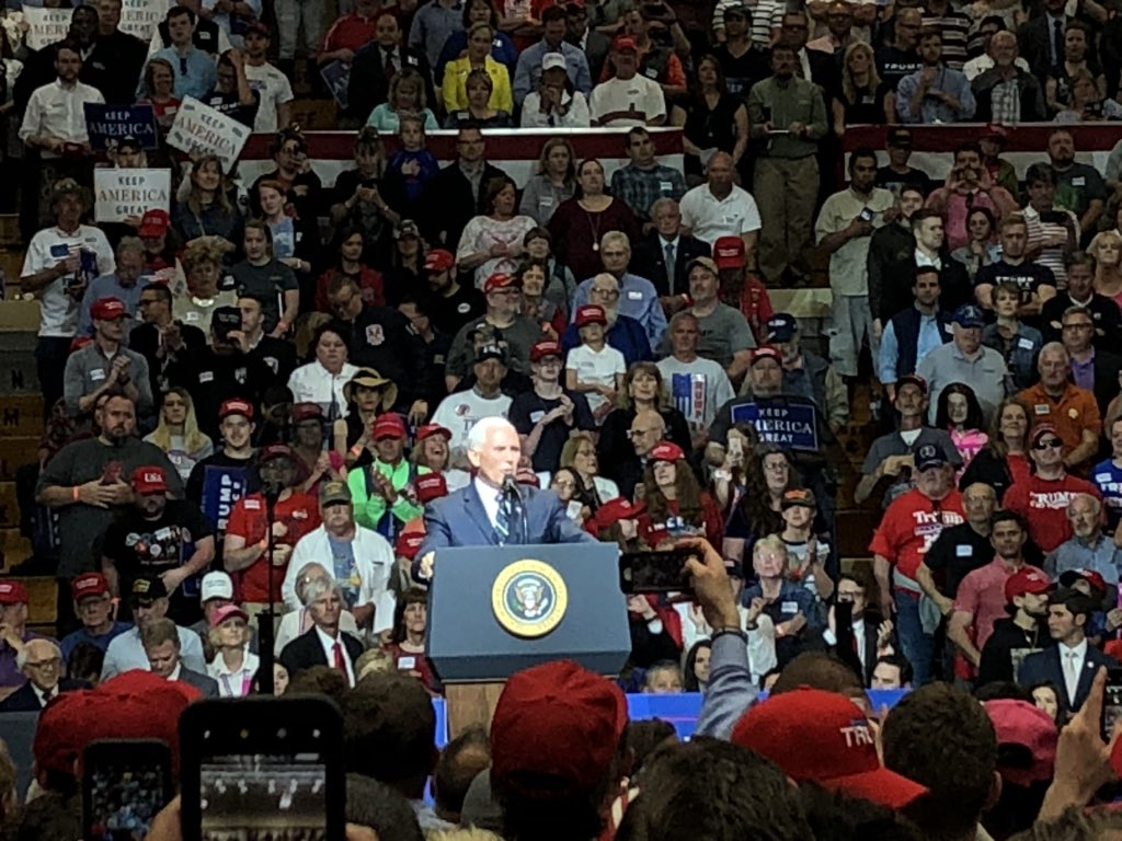 It is great for Karen and me to be back home again, with our fellow Hoosiers. I'm here today because I stand with @realDonaldTrump!   And I'm here to stand with the next great US Senator from Indiana, @Braun4Indiana!