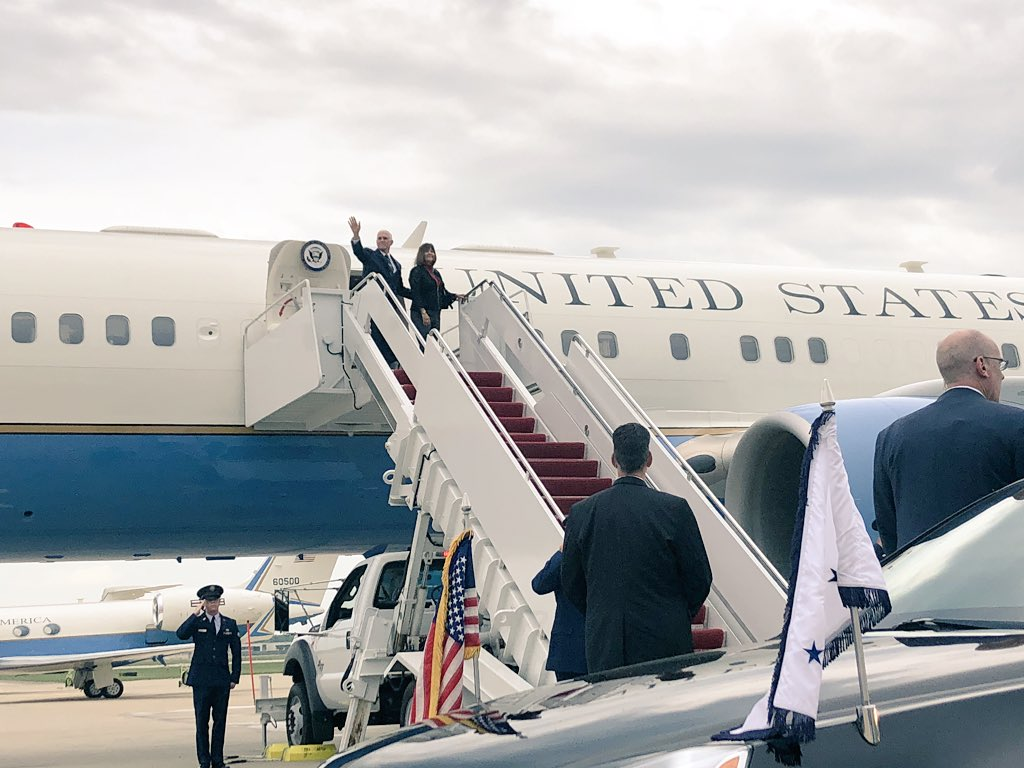 Karen and I are looking forward to being back home again in Indiana. Hoosiers are in for an exciting night at the rally with President @RealDonaldTrump. See you soon. #WheelsUp