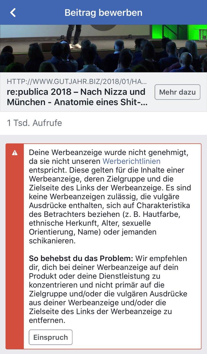 """Richard Gutjahr on Twitter: """"Kannste Dir nicht ausdenken: Facebook hat die  Bewerbung meines Anti-Hatespeech-Vortrags von der #rp18 abgelehnt - weil er  ..."""