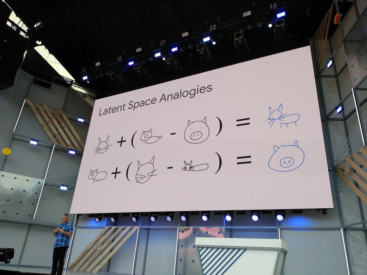 The wonderful art of @hardmaru and latent spaces on the main stage at #io18