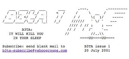 B3ta On Twitter First Newsletter Opened With An Ascii Art Bird