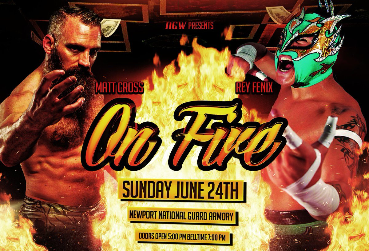 """Match Announcement!  Lucha Underground's """"Mdogg 20"""" Matt Cross will take on Impact Wrestling Star Rey Fenix at our next big show, On Fire on June 24th!  Online tickets are available NOW!  Tickets are $15 at: m.bpt.me/event/3424604  Kids 12 and Under are $5!"""