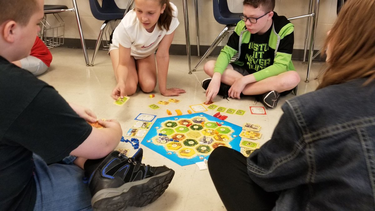 #catanweek was a success!  LOTS of fun while students worked on critical thinking skills and social interaction. (They didn't know they were learning).  @CMSCardinals @ClintonMoCards @settlersofcatan @catan