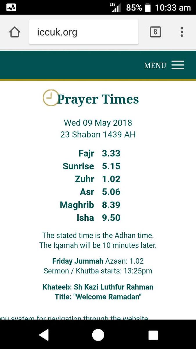 iccuk prayer timetable