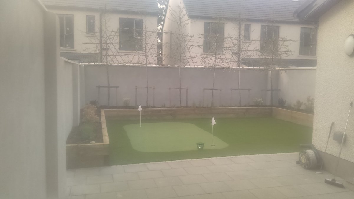 Completed photos of a garden project in Goatstown. Raised beds, Screening trees, Royal Grass Silk 25,  Birdie Putting Green (Stimp 9-10) and low maintenance shrubs. #Knockrabo  #Goatstown  #dublin   http://www.dublinartificialgrass.ie