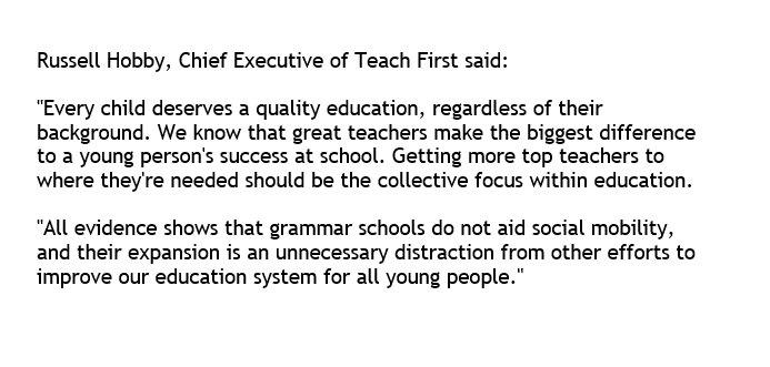 Comment regarding today's grammar school announcement.