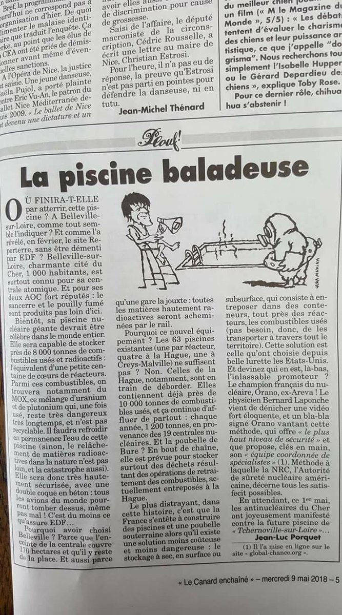 #Nucléaire : Le Canard enchaîné reprend mon enquête pour @Reporterre sur le projet de nouvelle piscine d\
