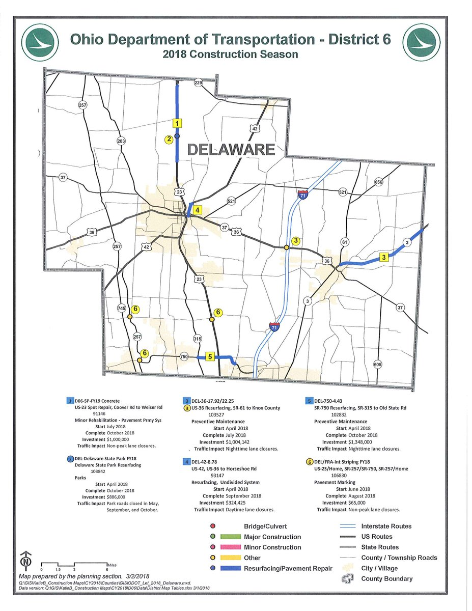 Delaware Traffic Map.Liberty Township On Twitter 2018 Odot Construction Map For